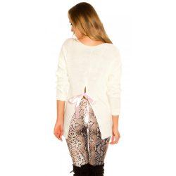 Fehér női kötött hosszú ujjú pulóver