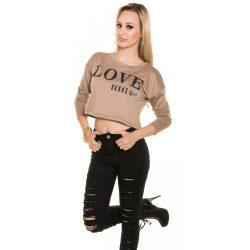 Bézs női rövid pulóver LOVE felirattal