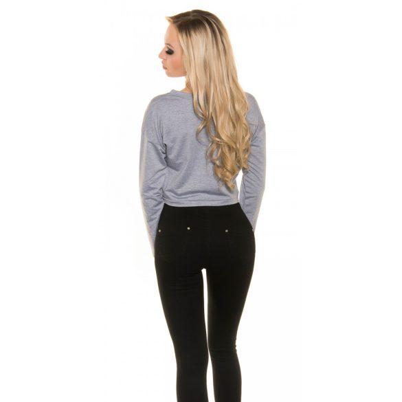 Szürke női rövid pulóver LOVE felirattal