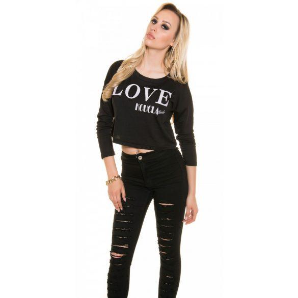 Fekete női rövid pulóver LOVE felirattal