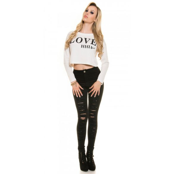 Fehér női rövid pulóver LOVE felirattal