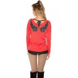 Korall női angyalszárnyas pulóver