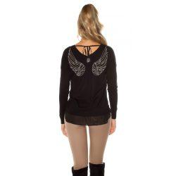 Fekete női angyalszárnyas pulóver