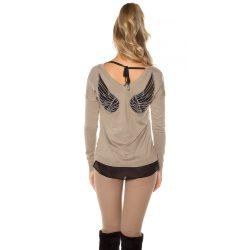 Barna női angyalszárnyas pulóver