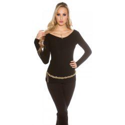 Fekete női kötött pulóver különleges láncos díszítéssel