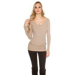 Bézs női kötött pulóver különleges láncos díszítéssel