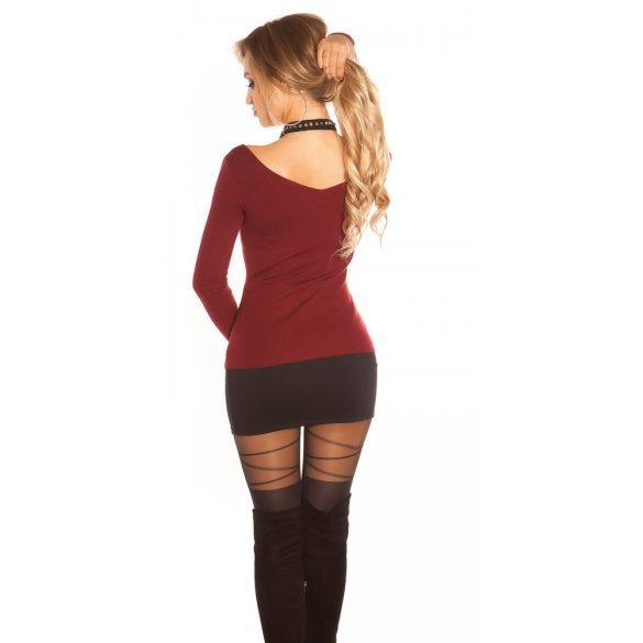 Bordó női pulóver szegeccsel