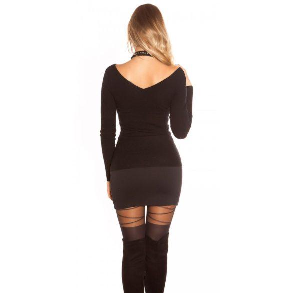 Fekete női pulóver szegeccsel