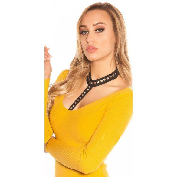 Mustár sárga női pulóver szegeccsel