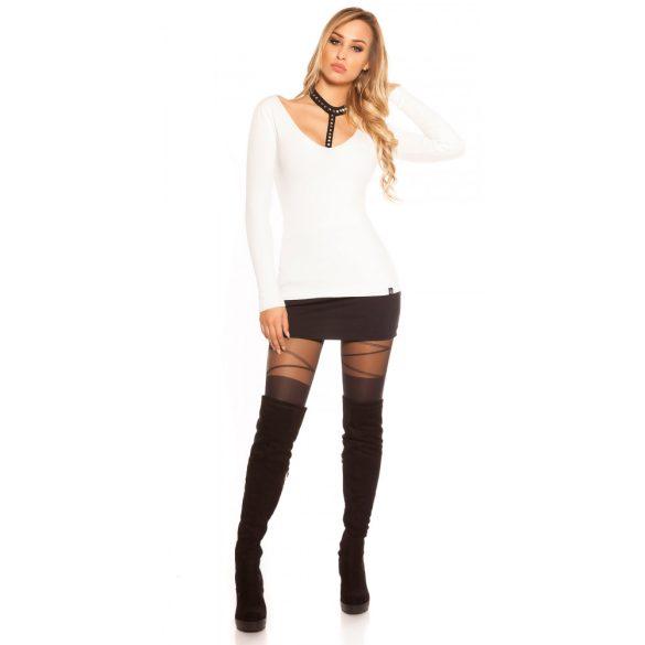 Fehér női pulóver szegeccsel
