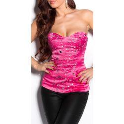 Pink szatén kövekkel díszített női top