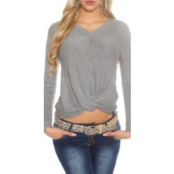 Szürke női csavart elejű kötött pulóver