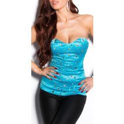Kék szatén kövekkel díszített női top