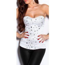 Állatmintás fehér kövekkel díszített női top