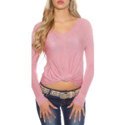 Rózsaszín női csavart elejű kötött pulóver