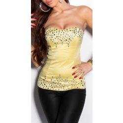 Sárga kövekkel díszített női top