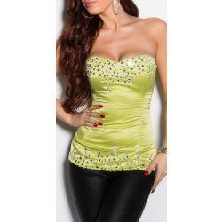 Zöld kövekkel díszített női top