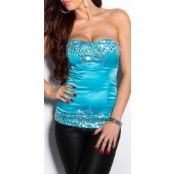 Kék kövekkel díszített női top