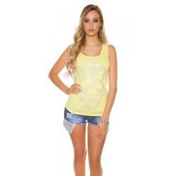 Sárga női rövidujjú póló sztrasszkövekkel