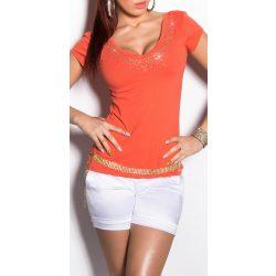 narancssárga strasszkővel díszített hátán kivágott női felső