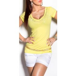 Sárga strasszkővel díszített hátán kivágott női felső