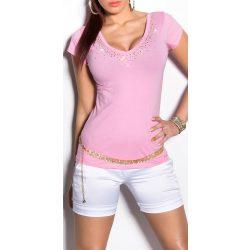 Rózsaszín strasszkővel díszített hátán kivágott női felső