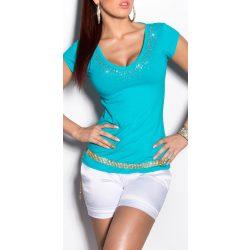 Kék strasszkővel díszített hátán kivágott női felső