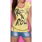 Sárga feliratos női rövid ujjú póló