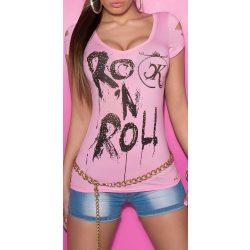 Rózsaszín feliratos női rövid ujjú póló