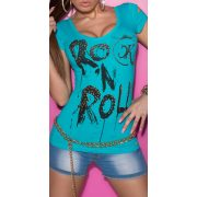 Kék feliratos női rövid ujjú póló