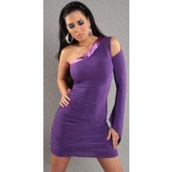 Lila félvállas női sztreccs ruha