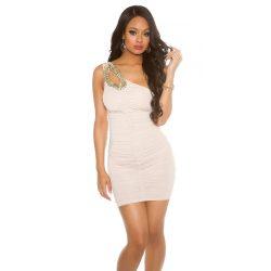 Bézs női félvállas ruha csillogó kövekkel