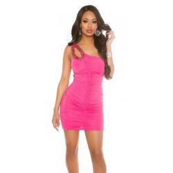 Pink női félvállas ruha csillogó kövekkel