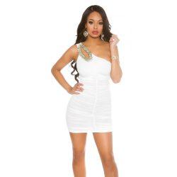Fehér női félvállas ruha csillogó kövekkel