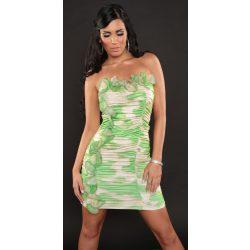Zöld női fodros mintás pánt nélküli ruha