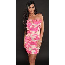 Rózsaszín női fodros mintás pánt nélküli ruha