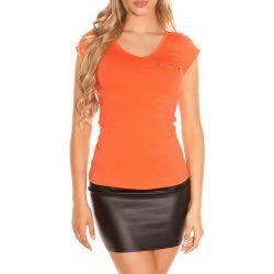 Narancssárga női felső hátán csipkével díszített