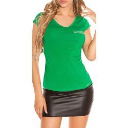 Zöld női felső hátán csipkével díszített
