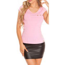 Rózsaszín női felső hátán csipkével díszített