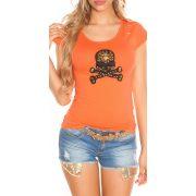 Narancssárga női rövid ujjú póló dekorral
