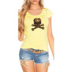 Sárga női rövid ujjú póló dekorral