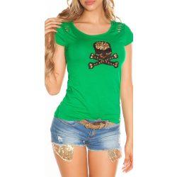 Zöld női rövid ujjú póló dekorral