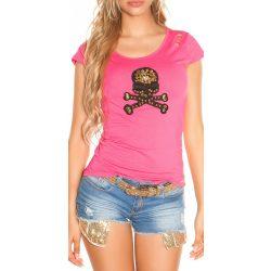 Pink női rövid ujjú póló dekorral