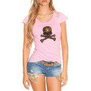 Rózsaszín női rövid ujjú póló dekorral