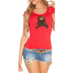 Piros női rövid ujjú póló dekorral