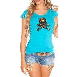 Kék női rövid ujjú póló dekorral