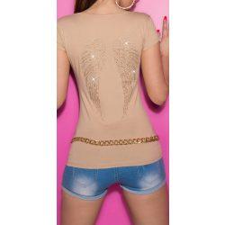 Bézs női rövid ujjú póló angyalszárnyakkal