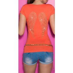 Korall női rövid ujjú póló angyalszárnyakkal