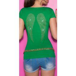 Zöld női rövid ujjú póló angyalszárnyakkal