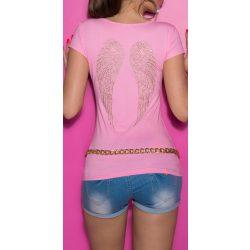 Rózsaszín női rövid ujjú póló angyalszárnyakkal